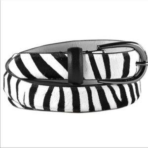 Cabi Zebra Belt New in Box Leather Faux Fur